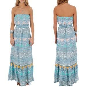 O'Neill Aven Boho Ruffle Strapless Maxi Dress